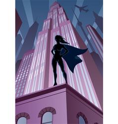 Super Heroine in City vector image vector image