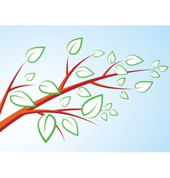 tree branch with leaves over blue sky vector image