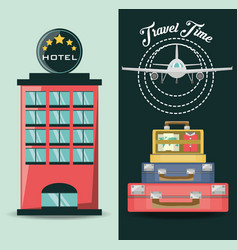 airplane with bags and hotel destination vector image vector image