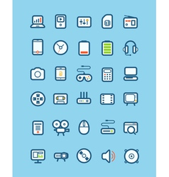 Different tech equipment icons vector image vector image