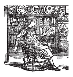 girl reading bookcase vintage engraving vector image vector image