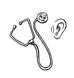 Medical stethoscope and human ear vector image