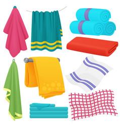 cute cartoon folded towels set vector image