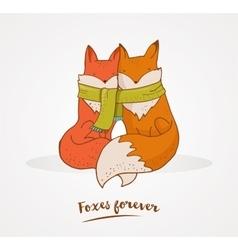 Fox cute greetin card valentines day vector