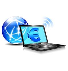 Internet Laptop Money Euro vector image vector image