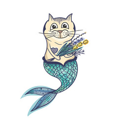 Mermaid cat character vector