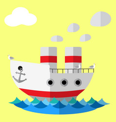 retro steam ship flat poster vector image