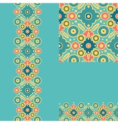 Set of geometric seamless pattern and borders vector image