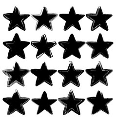 set of sixteen grunge stars vector image vector image