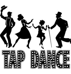 Tap dance silhouette banner vector image