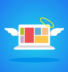 laptop angel with wings and a halo on a blue vector image