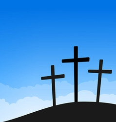 three crosses on blue sky vector image vector image