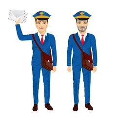 two postmen with bags posing vector image vector image