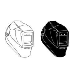 welding helmet black and white vector image vector image