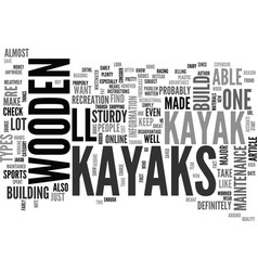 wooden kayaks text word cloud concept vector image vector image