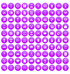 100 business icons set purple vector