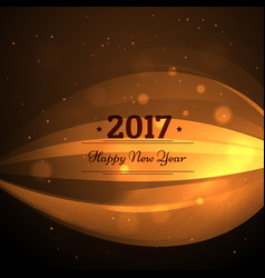 2017 happy new year design with golden wave vector image