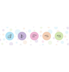 5 departure icons vector