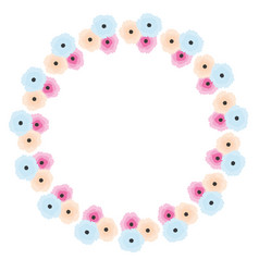 abstract floral wreath in soft pastel colors vector image