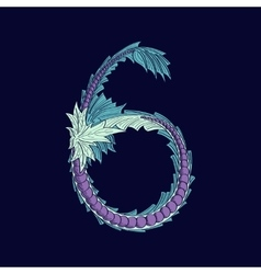 Abstract number 6 logo icon in Blue tropical vector
