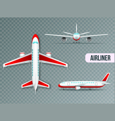 Airliner views realistic set vector