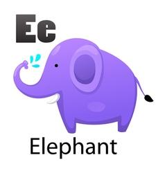 Alphabet E with elephant vector image