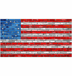 american betsy ross flag on a brick wall vector image