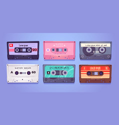 audio cassettes retro tapes music media storage vector image