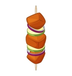 Barbecue kebab on a skewer icon cartoon style vector