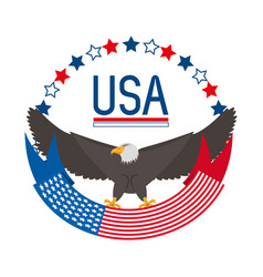 beauty eagle with american ribbon symbol vector image