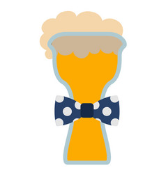 Beer glass with a bowtie icon vector