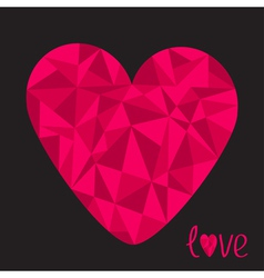 Big pink heart Polygonal effect Love card Black vector image