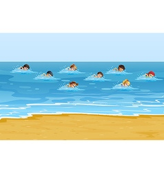 Boys and girls swimming in the ocean vector