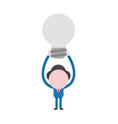 businessman character holding up grey light bulb vector image