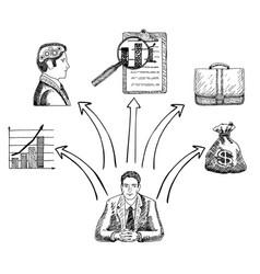 Businessman making business decision concept vector