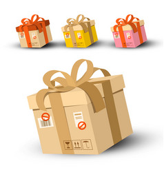 Cardboard parcels set with address and stamp vector