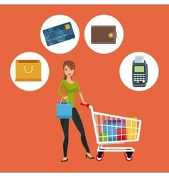 Cart girl and shopping icon set design vector