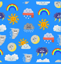 cartoon characters weather forecast seamless vector image