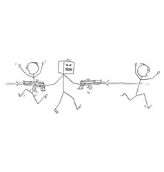 cartoon mad robot shooting weapons and killing vector image