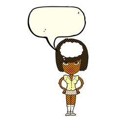 cartoon woman thinking with speech bubble vector image