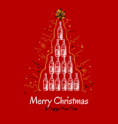 christmas greeting card with pyramid champagne vector image