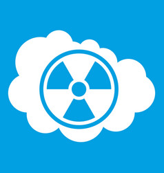 Cloud and radioactive sign icon white vector