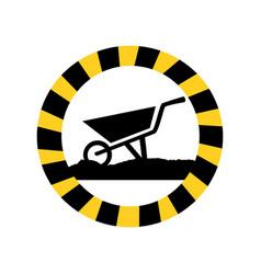 color circular road sign with wheelbarrow vector image