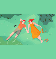 Couple in love lie on grass and look at sky flat vector