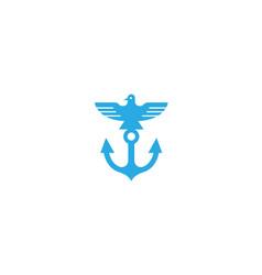 creative anchor gull bird logo vector image