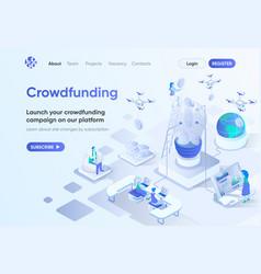 Crowdfunding platform isometric landing page vector