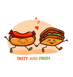 Cute cartoon fast food logo icon vector