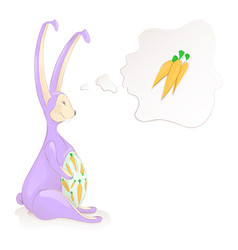 Cute easter bunny thinks about the carrots vector