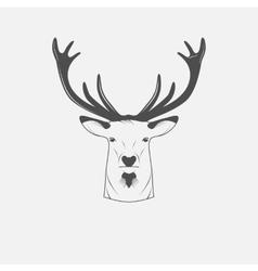 Deer head in black and white vector