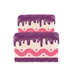 drawing birthday cake purple cream vector image